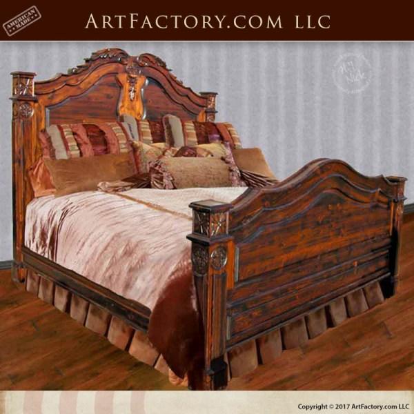 French Design King Bed: Custom Hand Carved Celtic Style Artwork
