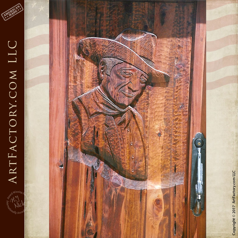 Designer Door Knockers John Wayne Hand Carved Door: Custom Western Style Wood Doors