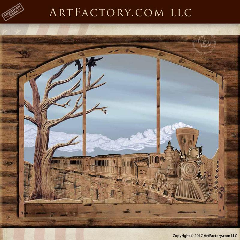 Silverton Train hand carved window