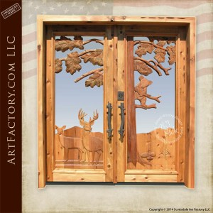 western deer hand carved door