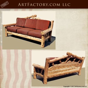 hand carved lodge sofa