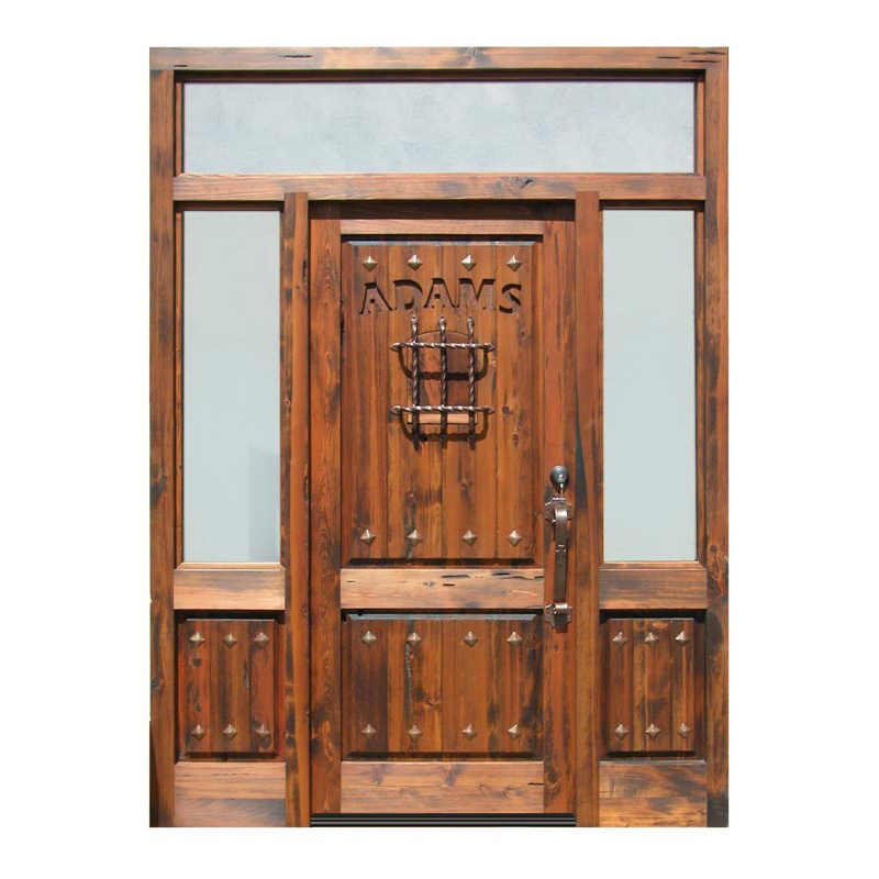 custom carved wood glass entry door