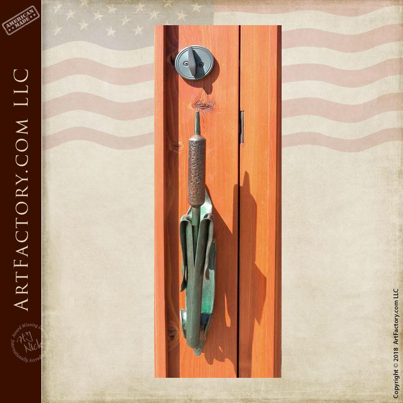 heron hand carved front door with custom cattail door pull