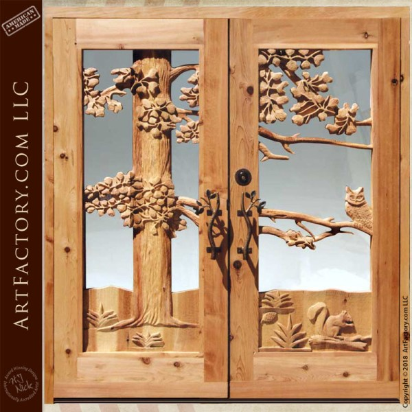owl carved double doors