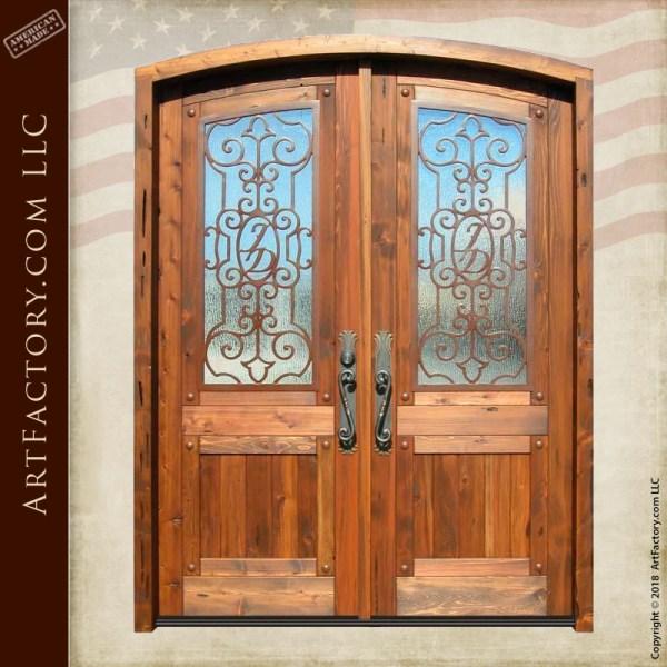 custom monogram ironwork double doors