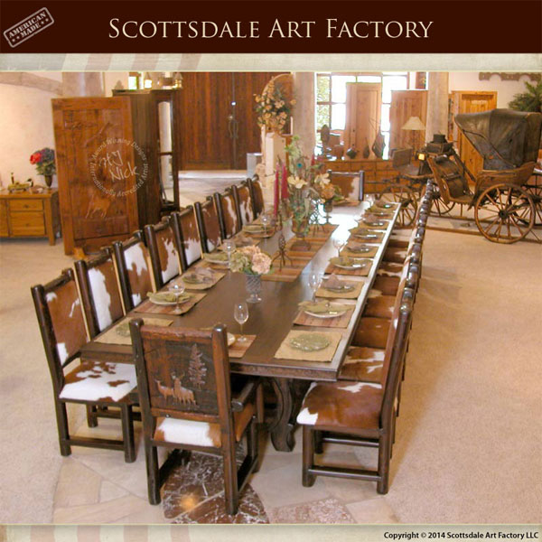 Custom 21 Pc Lodge Dining Set Rustic Handcarved Table
