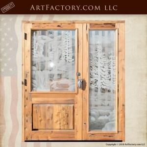 sleeping bear hand carved door with bear claw door pull