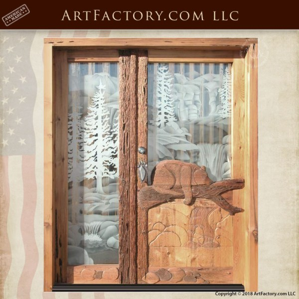 sleeping bear hand carved door