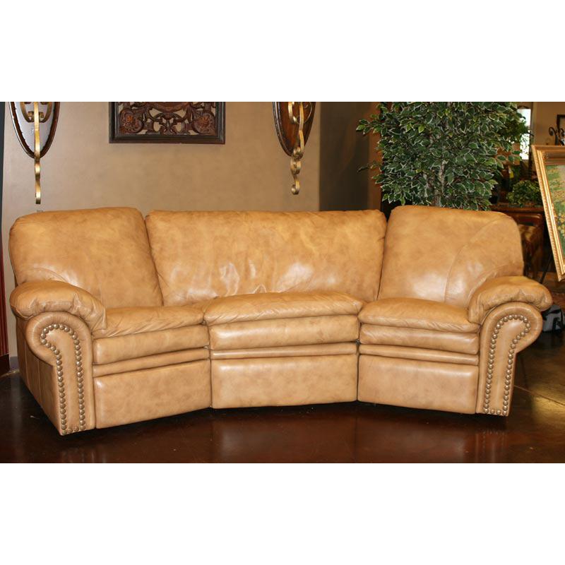 Handmade Leather Sofa: Curved Custom Leather Sofa