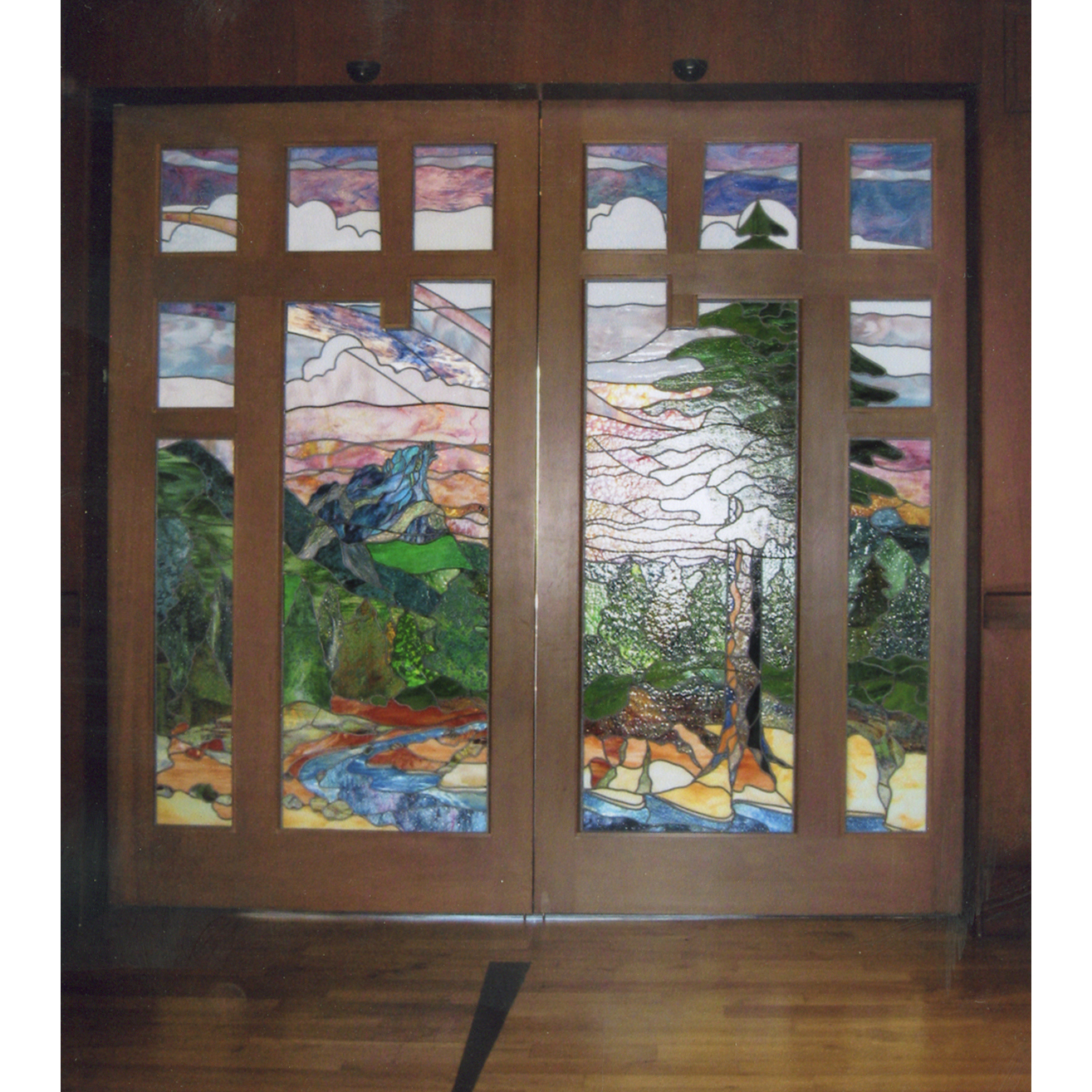 custom craftsman style stained glass doors