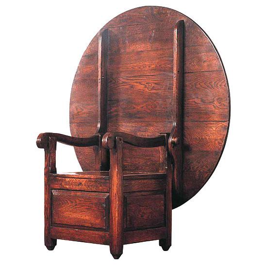 Salt Box Armchair w/ Table Top Antique Armchair/Table