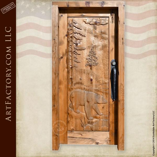 brown bear hand carved door