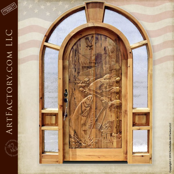 hand carved fishing door