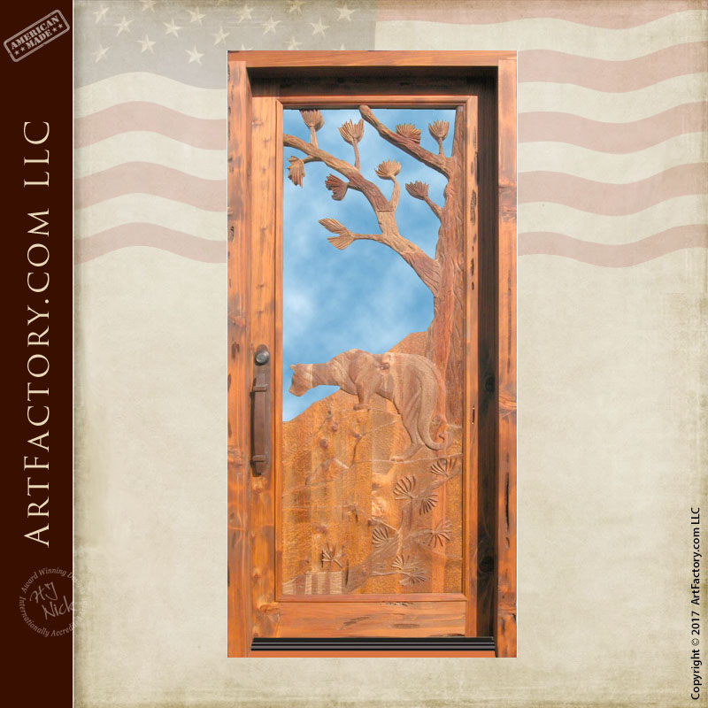 Mountain Lion Carved Front Door: Solid Wood With Glass Panel U2013 3159HC
