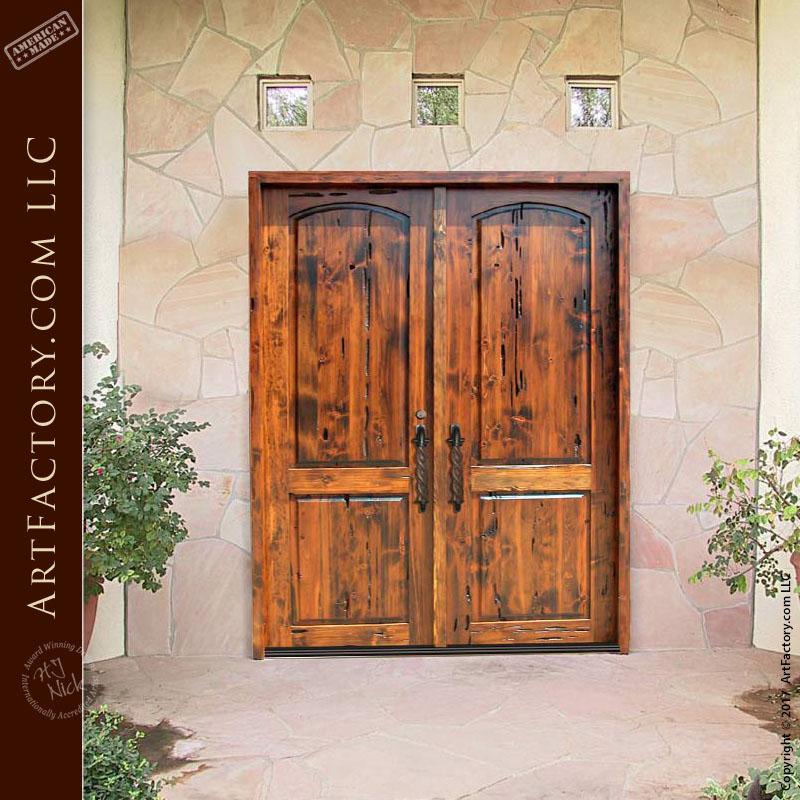 two panel wooden double doors