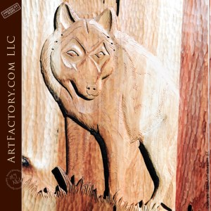 wolf carved front door
