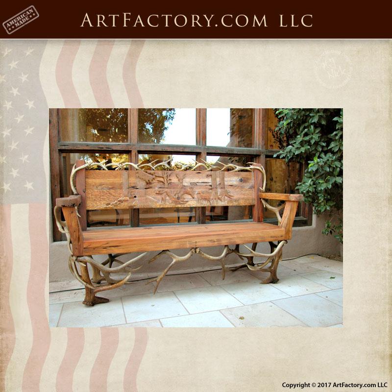 fine art carved antler bench