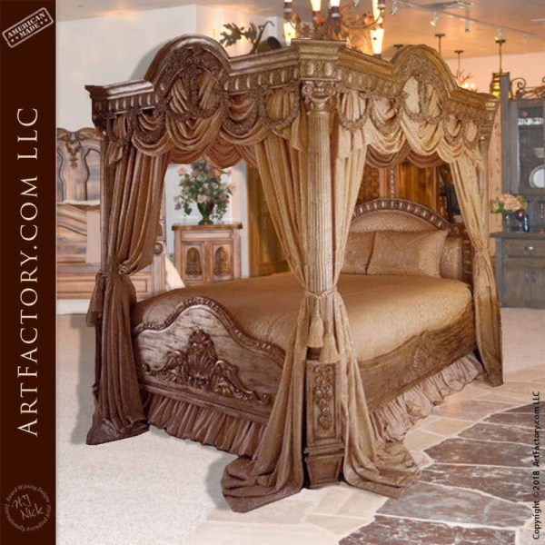 custom carved canopy bed