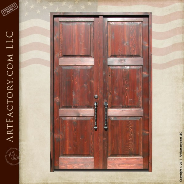 rustic wooden double doors