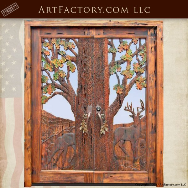 autumn forest inspired entrance doors