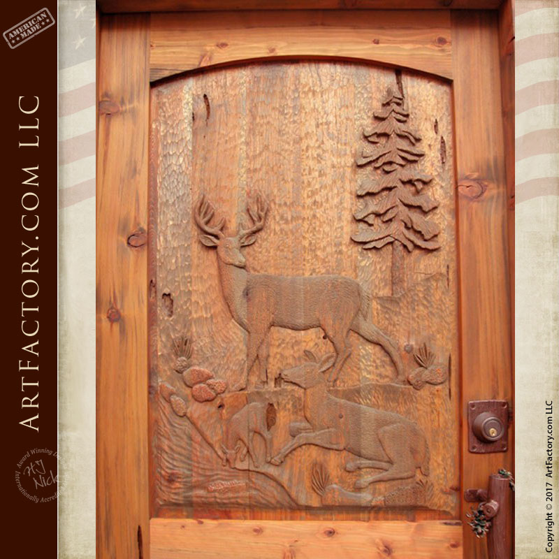 deer hand carved door