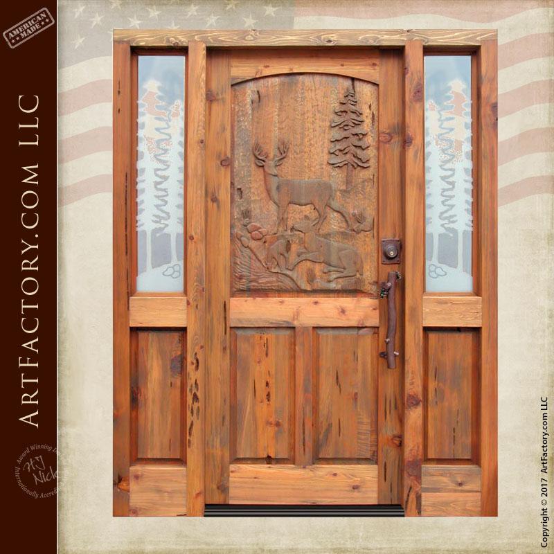 Deer Hand Carved Door Wilderness Theme Carvings Designed