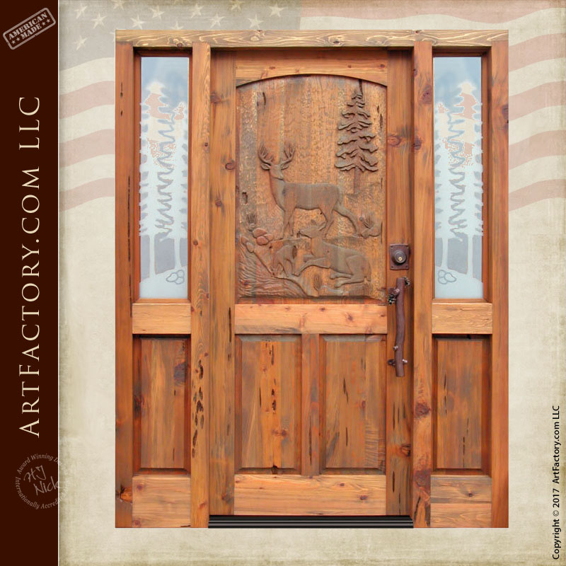 deer hand carved door deer hand carved door & Deer Hand Carved Door: Wilderness Theme Carvings Designed By H.J. Nick