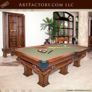 Custom Carved Walnut Pool Table