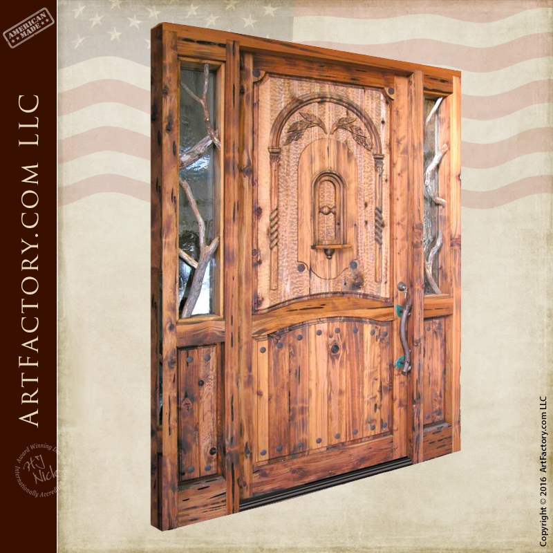Rustic Log Cabin Door Custom Solid Wood Entrance Doors