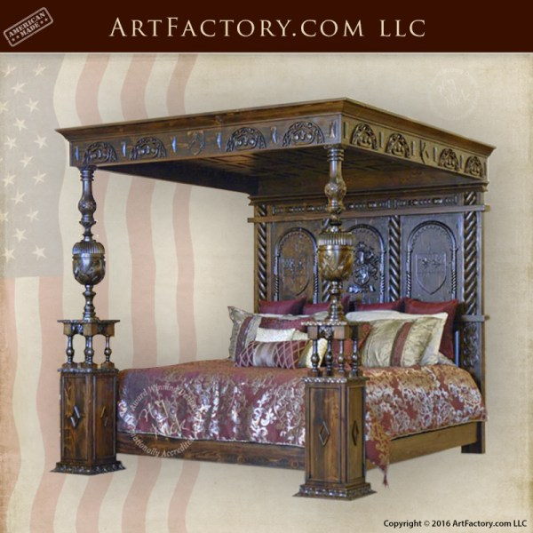 Hand Carved Bed: Medieval Carved Canopy Beds: Hand Carved Poster Bed