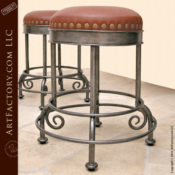 iron leather bar stool