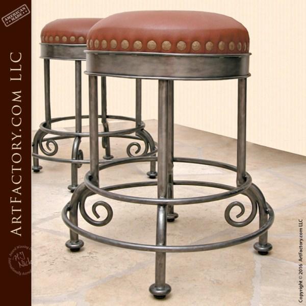 iron leather bar stool