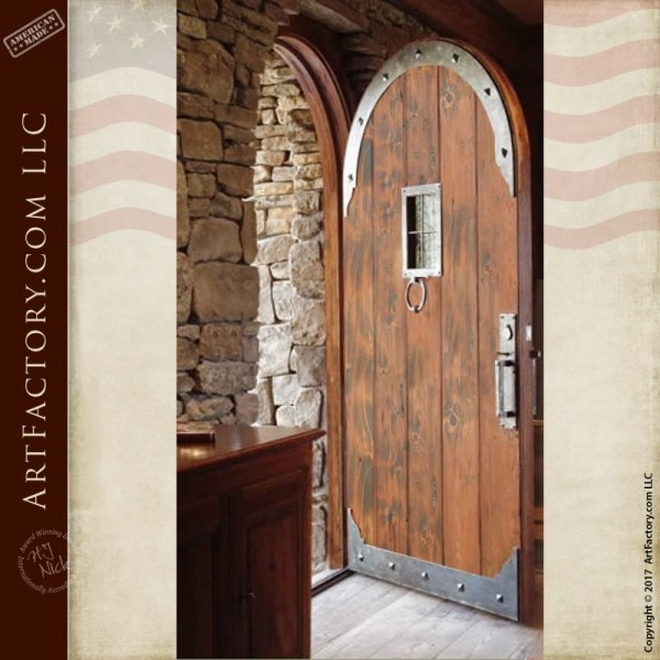 gothic arched wooden door
