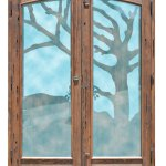 carved wildness wood glass door
