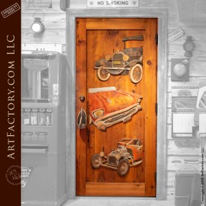 Classic Car Carved Door