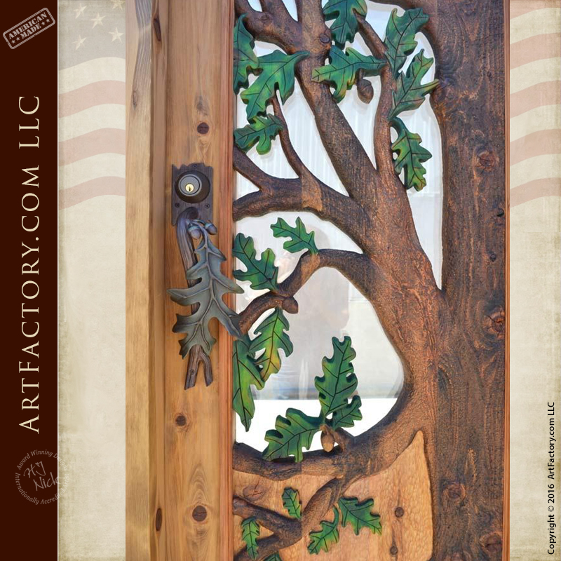 kitchen cabinet handles and knobs counter lamps hand carved oak tree door - forged leaf hardware
