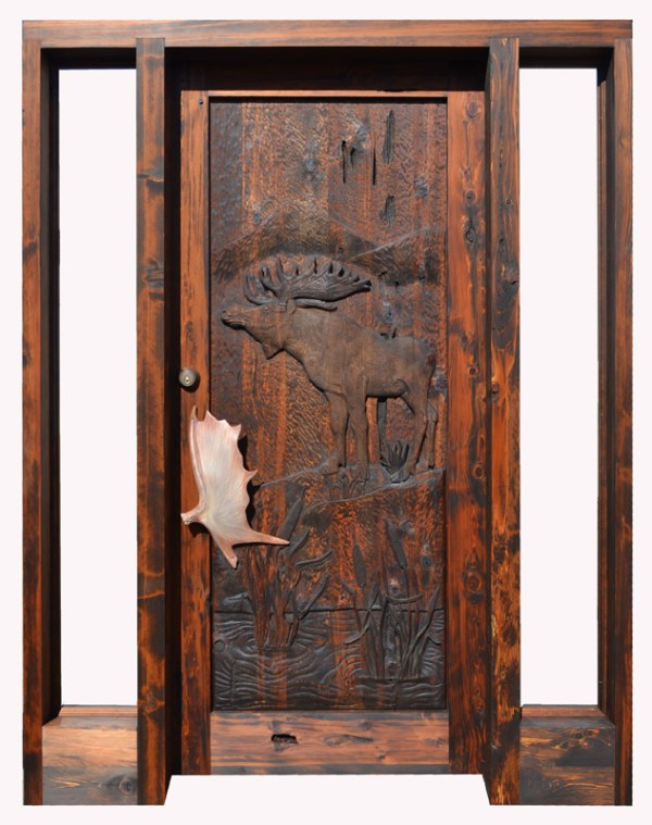 Log Cabin Doors Hand Carved Moose Doors Custom Lodge Doors Custom