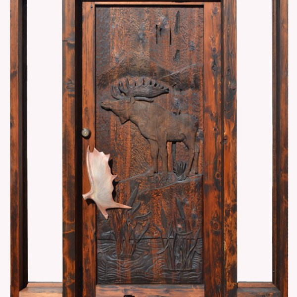hand carved moose door