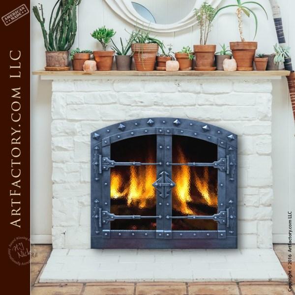 custom hand forged fireplace doors
