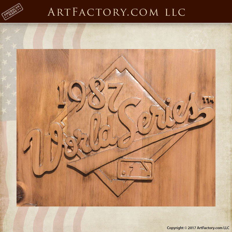 1987 World Series Logo Wood Carving