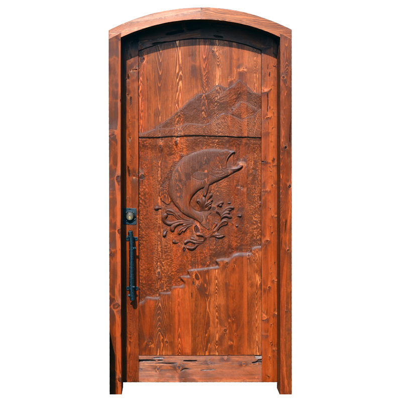 fish theme carved wood door