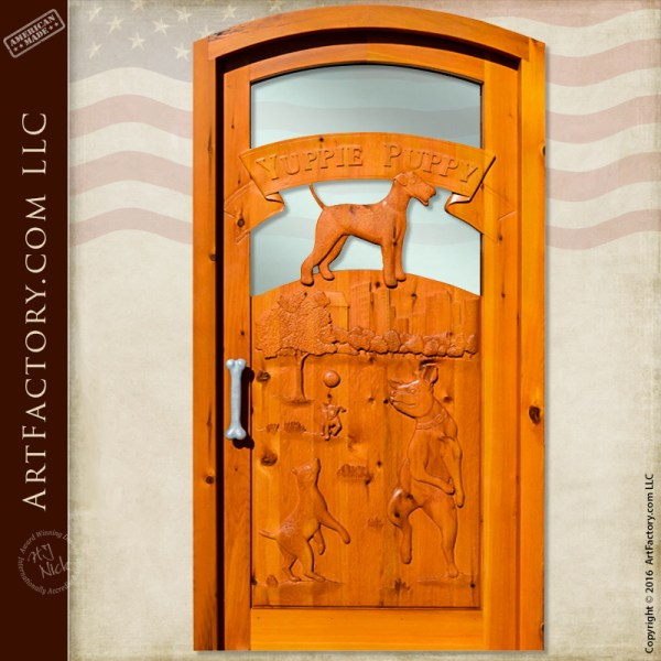business logo carved door