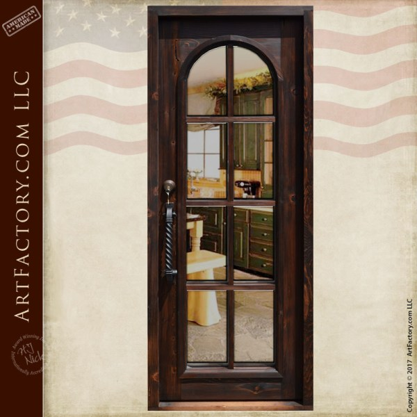 arched glass panel French door