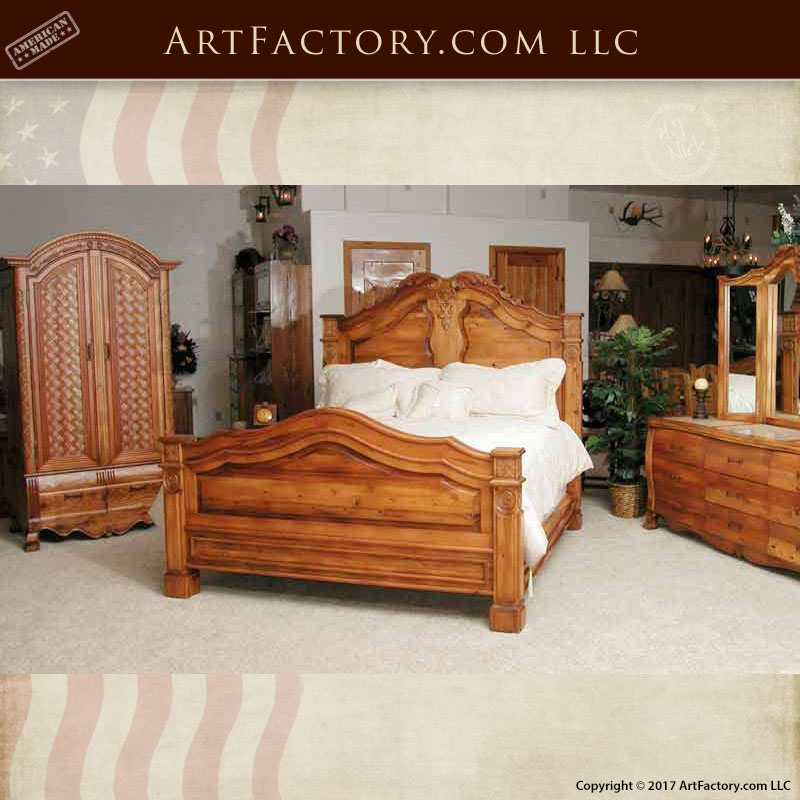 French style hand carved king bed
