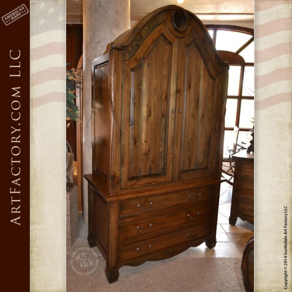 Art Nouveau Style Bedroom Set: Matching Bed, Armoire, And