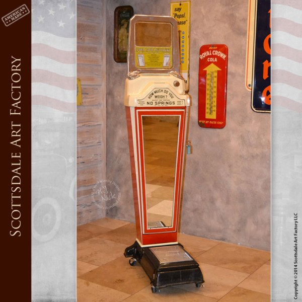 Antique Penny Scale Vending Machine Watling Fortune Weight