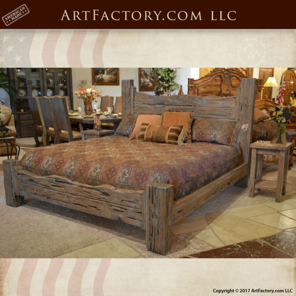 rustic king bed western style wood bed