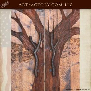 Tree Carved Entrance Door with custom oak branch door pulls
