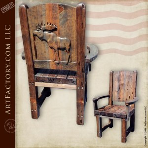 Hand Carved Moose Lodge Chair