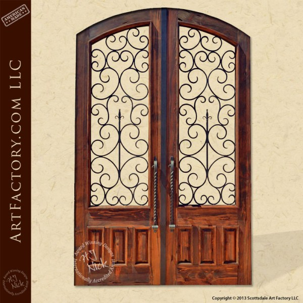 French ironwork wooden double gate